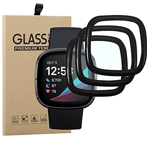 [3 Pezzi] Vetro Temperato per Fitbit Versa 3 / Fitbit Sense, [3D Curved Edge to Edge], Anti-Graffio, Bubble Free Pellicola, Nero