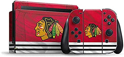 Skinit Decal Gaming Skin for Nintendo Switch Bundle - Officially Licensed NHL Blackhawks Red Stripes Design
