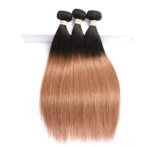 WIGU Paquetes de cabello humano real con raíces marrones en negro de 12 pulgadas Recta Extensiones de Cabello Humano Real Negro Natural 100% Pelo Brasileño Sedoso sin Procesar