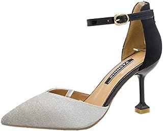 [OceanMap] アンクルストラップ パンプス ベルト付き 痛くない 8cm ヒール ハイヒール キラキラ 脱げない 低反発 ピンヒール ポインテッドトゥ 美脚パンプス 履きやすい 靴 フォーマル 結婚式 通勤 バイカラー