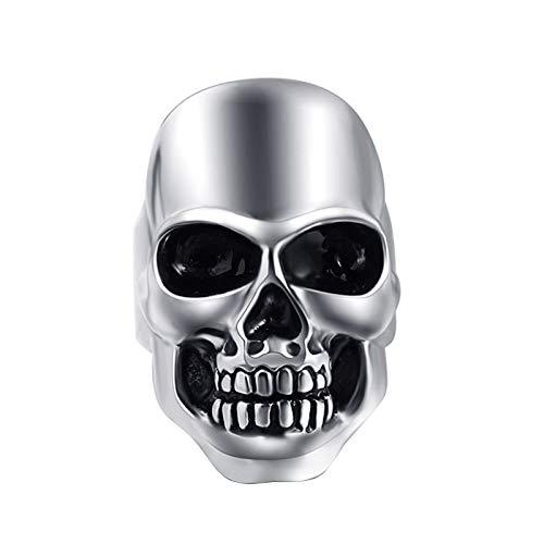 EzzySo Anillo de cráneo de galvanoplastia, Estadounidense Hombres y Mujeres Punk Punk Dominio Tendencia Anillo de aleación Joyería (2 PCS),10