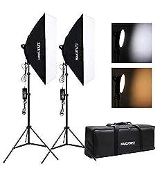 Hakutatz LED Fotostudio Softbox Set Studioleuchte Dauerlicht Fotolicht 90W Bi-Color 2700K 5500K Dimmbar für YouTube Video Foto