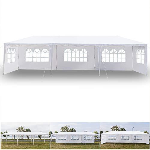 keppoman 10' x 30' Outdoor Canopy Party Wedding Event Tent Waterproof Sun Shelter Canopy Heavy Duty Gazebo Storage Pavilion w/ 5 Removable Sidewalls, White