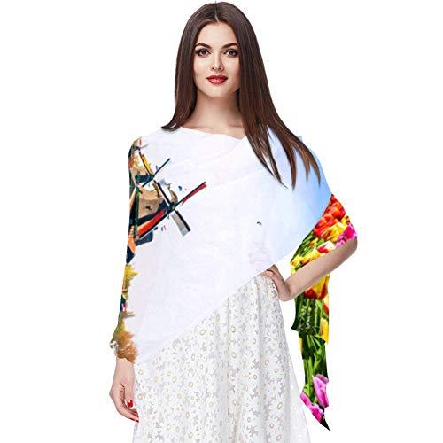 Damen Schal mit Blumenfeldern und Windmühlen, leicht, modisch, Sonnenschutz