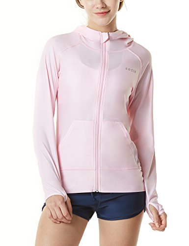 TSLA Women's Hoodie Zip Front Rash Guard, UPF 50+ Long Sleeve Swim Shirts, UV/SPF Sunscreen Wetsuit Swimsuit Top, Sun Block Zip Hoodie(fsz02) - Pink, X-Large