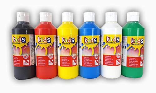 Kids Plakatfarbe, Kindermalfarbe Set 6 x 250 ml Premium Schulmalfarbe Bastelfarben gebrauchsfertig mit Dosieröffnung