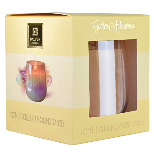 Baltus Scented Colour Changing Candle, (Golden Amberwood)