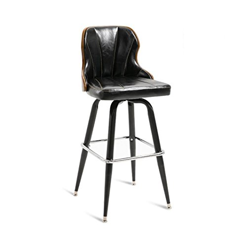 Chaises de barre de fer cuisine petit déjeuner salle à manger chaise style rétro haute chaise de comptoir haut tabouret de bar arrière pour la famille et les affaires (Couleur : Black)