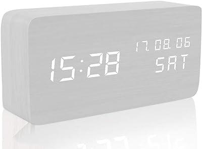 Reloj Despertador, Reloj Despertador Digital LED de Madera, Muestra la Fecha, la Semana