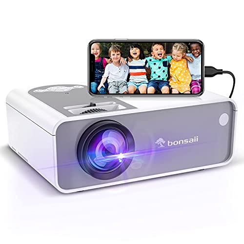 Outdoor Projector, 5500Lux Portable Movie Projector Supported 1080P and...