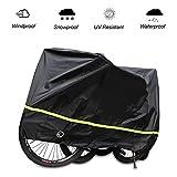 SICOOO Fahrradabdeckung, Wasserdichter Fahrradgarage Motorradgarage Fahrradschutzhülle Regenschutz Schutzbezug Anti Dust Sun Regen Wind Proof UV Schutz(200x70x110CM) (Schwarz) MEHRWEG