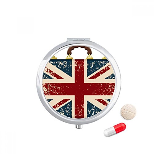 DIYthinker Union Jack Retro koffer Groot-Brittannië Vlag Cultuur Reizen Pocket Pill case Medicine Drug Storage Box Dispenser Spiegel Gift
