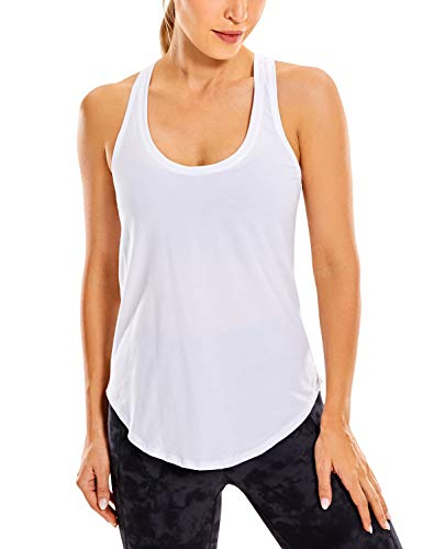 CRZ YOGA Women's Lightweight Pima Cotton Workout Tank Tops-Soft Racerback Athletic Yoga Tanks White S