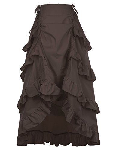 Women's Steampunk Gothic Vintage Cotton Skirts Black Gypsy Hippie M