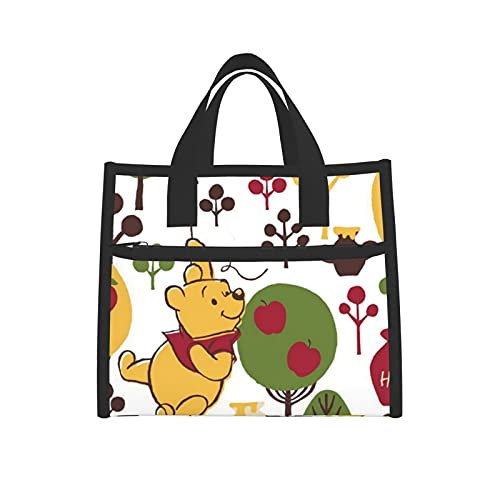 Lunch Bag Insulated Winnie The Pooh Apple Tree Cooler Boxes with Net Waterproof Tote Bag for Women School