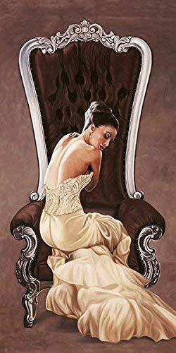 Keilrahmen-Bild - Pierre Benson: Beautiful Queen I Leinwandbild Mädchen Frau Fashion Mode Kleid Stuhl sitzend (50x100)