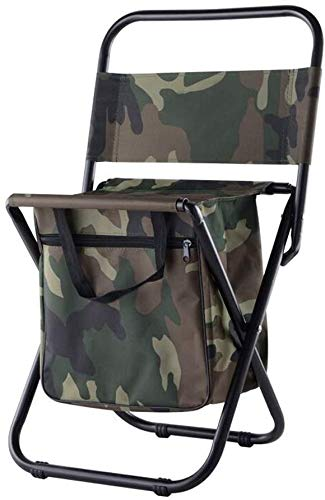 TentHome Campingstuhl mit Rückenlehne Klappstuhl Anglerstuhl Multifunktions-Angelrucksack Stuhl mit Kühltasche isolierter Tasche für Angeln Strand Camping Picknick Garten (Militärische Tarnung)