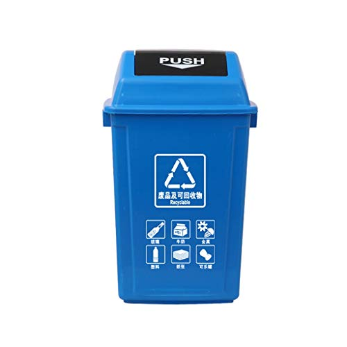C-J-X TRASH CAN C-J-Xin Außenkompostierungsbehälter, Große Verdickung Kunststoff Recycling Bins Schule Fabrik Mülltonne 20L, 40L, 60L Hohe Kapazität (Color : Blue, Size : 75 * 42 * 31CM)
