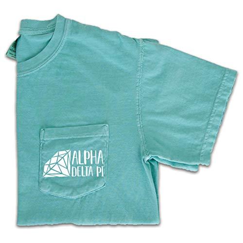 Go Greek Chic Alpha Delta Pi Diamond Pocket Tee Sorority Comfort Colors T-Shirt (Large) Mint