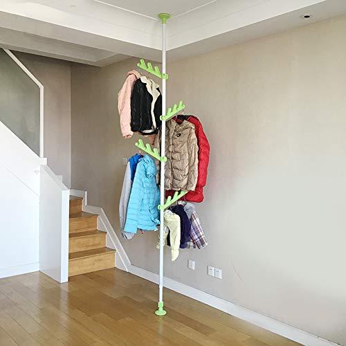 Kapstok, kledingstang, staande hanger, hallboom, verticale kledingrek 4 bladhaken instelbaar Nailless grote diameter stalen buis sproeien PP & ABS-componenten kledingstang