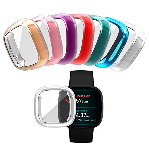 Wugongyan Screen Protector Case Compatible with Fitbit Versa 3 Soft TPU Full Cover Protective Case for Fitbit Sense Smartwatch Accessories (7-Pack Brilliant Colors, Versa 3 / Sense)