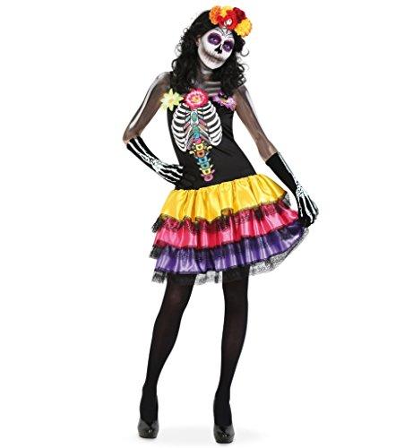 KarnevalsTeufel Damenkostüm Catrina Kleid Tag der Toten Dia de los Muertos Mexico Gr 34 - 40 (40)