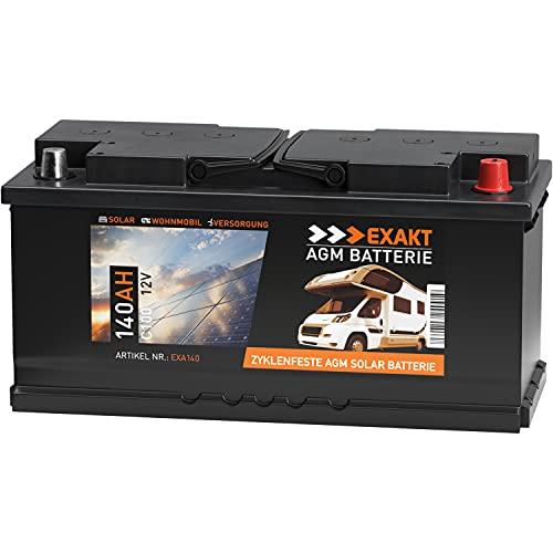 EXAKT AGM Batterie 140Ah 12V Solarbatterie Wohnmobilbatterie Bootsbatterie Camping Versorgungsbatterie