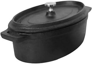 ASDAF Esmaltada de Hierro Fundido hornos holandeses Cubiertos cazuela Ovalada Mini Pot Panela Utensilios de Cocina Olla,Negro