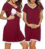 Ekouaer Soft Short Sleeve Hospital Gown Double Layer Breastfeeding Pajamas Dress Wine Red