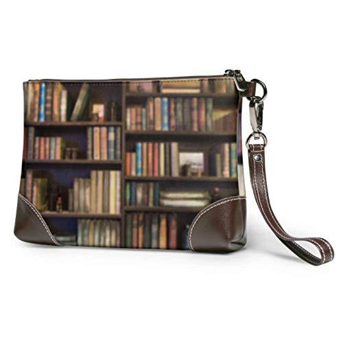 Ahdyr Embrague de cuero Bolsa de embrague de cuero suave impermeable Muchos libros viejos en la estantería en la biblioteca Cartera para teléfono celular con cremallera para mujeres y niñas