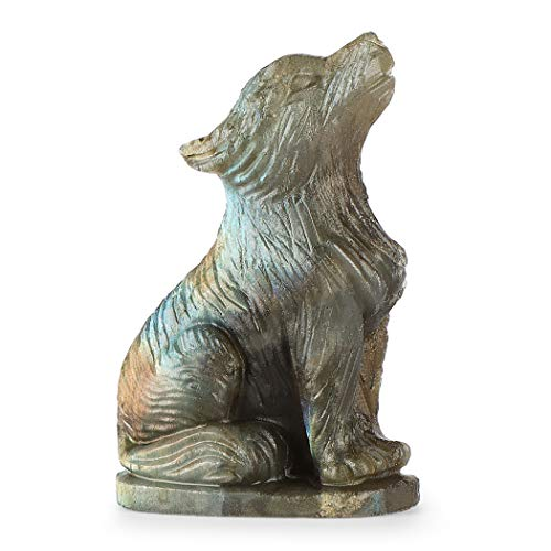 Artistone 2.0' Wolf Stone Statue,Polished Healing Crystal Hand-Carved Gemstone Crystal Figurine Animal Collection Sculpture Dec,Pack with Gift Box .(Labradorite)