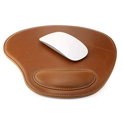 Londo Leder Oval Mouse Pad mit Handgelenkauflage (Hellbraun)