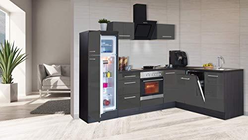 respekta Winkelküche Küchenzeile Küche L-Form Einbauküche 260x200 cm Eiche (Grau)