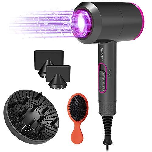Asciugacapelli ioni,Asciugacapelli 2000W Potente, asciugacapelli professionali AC Hair Dryer con 3 ugelli e diffusore, 3 impostazioni di temperatura, Pulsante di raffreddamento indipendente.