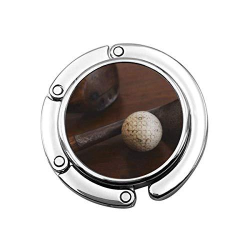 Niedliche Faltbare Geldbörse Kleiderbügel Haken für Tisch, Brown Sport Nahaufnahme von antiken Golfschlägern und Studio Handtasche Haken Tischtasche