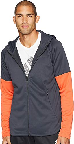 adidas Athletics Team - Sudadera con Capucha y Cremallera - DH9071, Medium, Carbon/Raw Amber