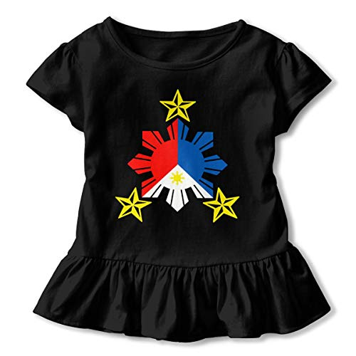 Tribal Philippines Filipino Sun and Stars Flag 2-6 Years Old Child Girls Fashion Short Sleeve T-Shirts Printed Dress Black