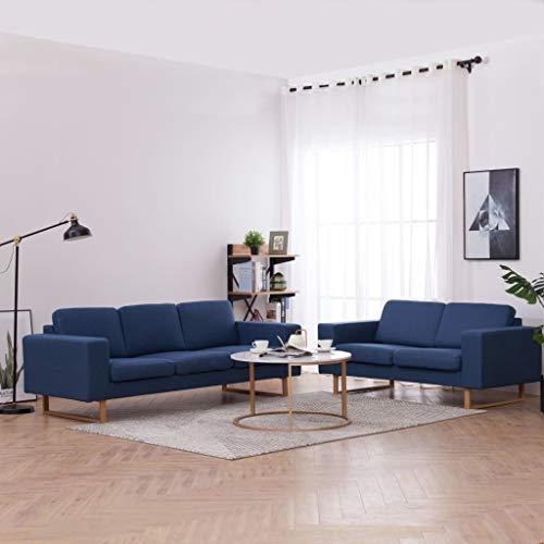 FAMIROSA Juego de sofás 2 Piezas de Tela azul-6861