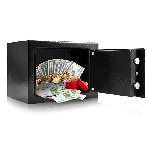 Cash Safe Box with 2 keys Safety Deposit Box Durable Strong High Security Steel Money Cash Safe for Home Office Black, 9.05 × 6.69 × 6.81 inch