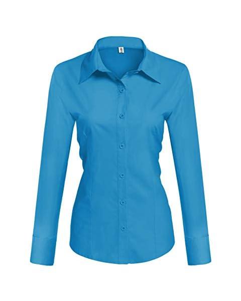 HOTOUCH Women's Solid Simple Dress Shirt Button Down Shirts Deep Sky Blue Medium