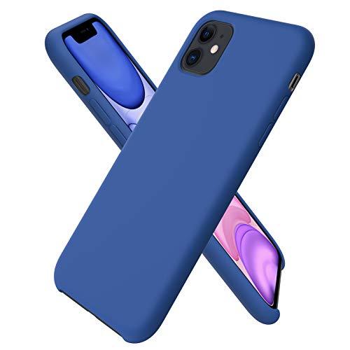 ORNARTO Funda Silicone Case para iPhone 11, Carcasa de Silicona Líquida Suave Antichoque Bumper para iPhone 11 (2019) 6,1 Pulgadas-Azul Real