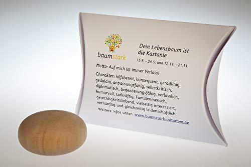 Baumstark Kastanie 45mm mit Baumhoroskop (15.5. -24.5. und 12.11. -21.11.) Handschmeichler, Holz, 8 x 11.5 x 2.8 cm