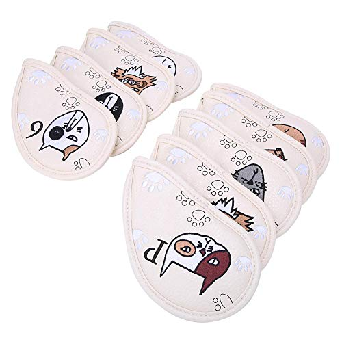 Golf Putter Head Crtystal PU Skull Head 9Pcs Golf Club Headcover Protector Set