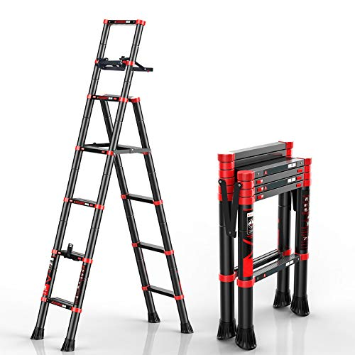 Telescoping Ladder A-Frame Aluminum Extension Ladder Lightweight Portable Multi-Purpose Folding Ladder with Detachable Tool Tray, 330 Pound Load Capacity