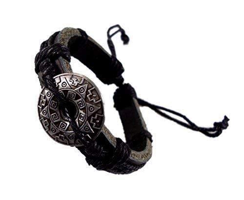 Spirit of Avalon Armband Leder Metall Emblem Lederarmband - Surfer Style - Sonne Mond Sterne/Yoga Esoterik Astrologie Meditation Wasser