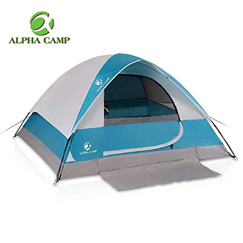 ALPHA CAMP 3 Person Camping Dome Tent with Carry Bag, Lightweight Waterproof Portable Backpacking Tent for Outdoor Camping/Hiking - 7' x 8' Purple