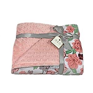 MEG ORIGINAL Floral Minky Crib Blanket for Baby Girls { Abloom } Peach