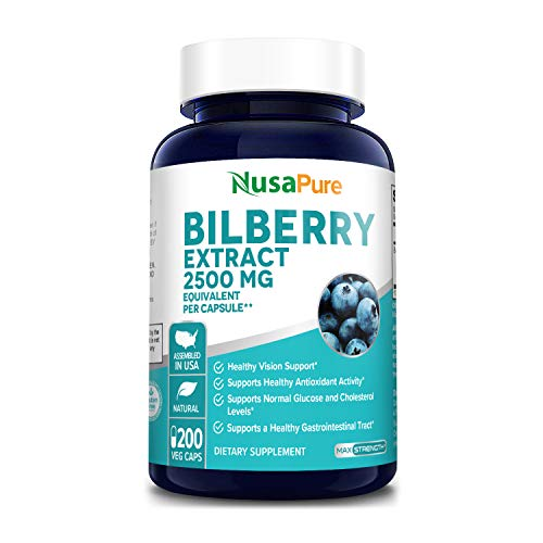 Bilberry Extract 2500mg 200 Vegetarian caps (Non-GMO & Gluten Free) Healthy Vision Support* Healthy Antioxidant Activity Support *