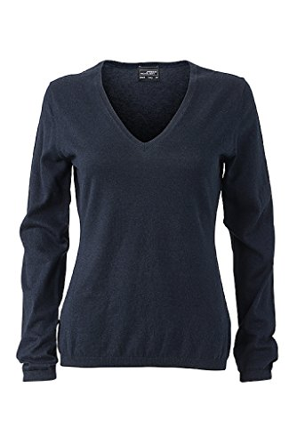 JAMES & NICHOLSON Damen Hochwertiger Pullover mit Seide/Kaschmir-Anteil (XXL, navy-melange)