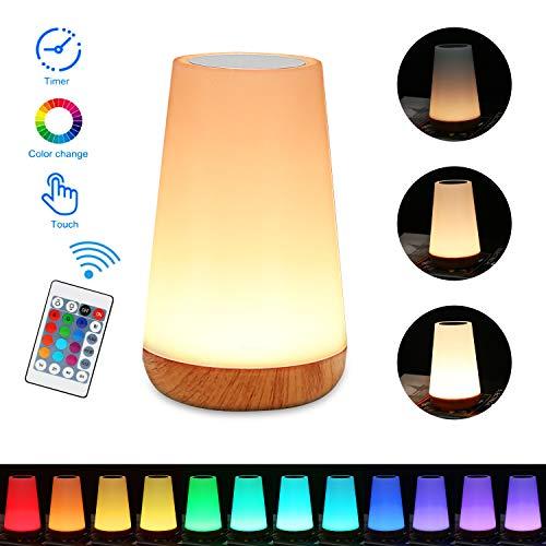 Nachttischlampe, Zorara LED Nachtlicht Nachttischlampe Touch Dimmbar mit Fernbedienung LED Nachtlampe Kinder Stimmungslicht RGB 13 Farbwechsel Dimmbares USB Aufladbar Tragbare für Baby SchlafZimmer